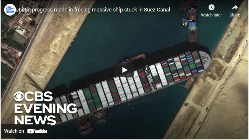 Little progress made in freeing massive ship stuck in Suez Canal