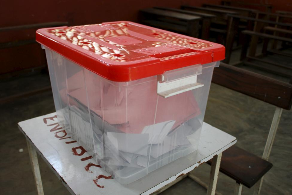 Ballots are seen in a box at a polling station in Brazzaville, Congo Republic, October 25, 2015. REUTERS/Roch Baku